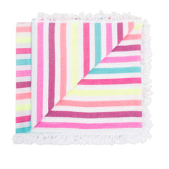 Beach blanket with pink, yellow, blue and orange stripes