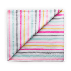 Large beach blanket with pink, grey and yellow stripes from las bayadas