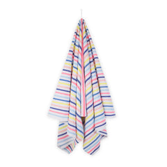 Big and soft beach towel with blue, yellow and pink stripes