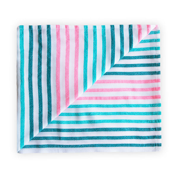Large beach blanket with green and pink stripes