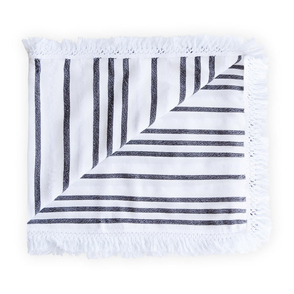 Black and white beach blanket with stripes and fringe