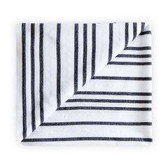 Black and white beach blanket with stripes