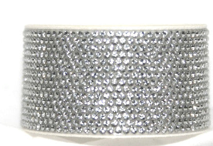 Chrome Bling Band Crystal on White  with Swarovski Crystals