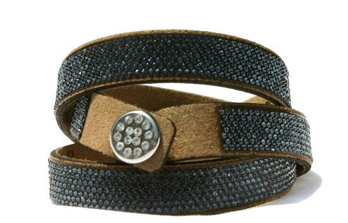 Napoli Pavee Wrap - Black Diamond Swarovski Crystals