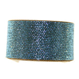 Chrome Bling Band Swarovski Crystal Aquamarine Bracelet