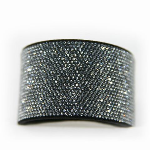 Chrome Bling Band Swarovski Crystal Clear on Black