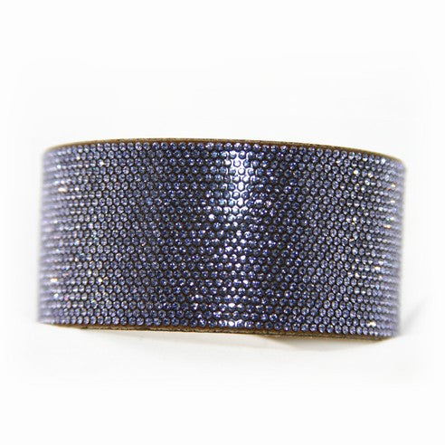 Chrome Bling Band Violet on Tan micro suede, Swarovski Crystals