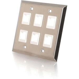 C2G 6-Port Double Gang Multimedia Keystone Wall Plate - Stainless Steel