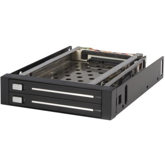 StarTech.com 2 Drive 2.5in Trayless Hot Swap SATA Mobile Rack Backplane - Storage bay adapter - black