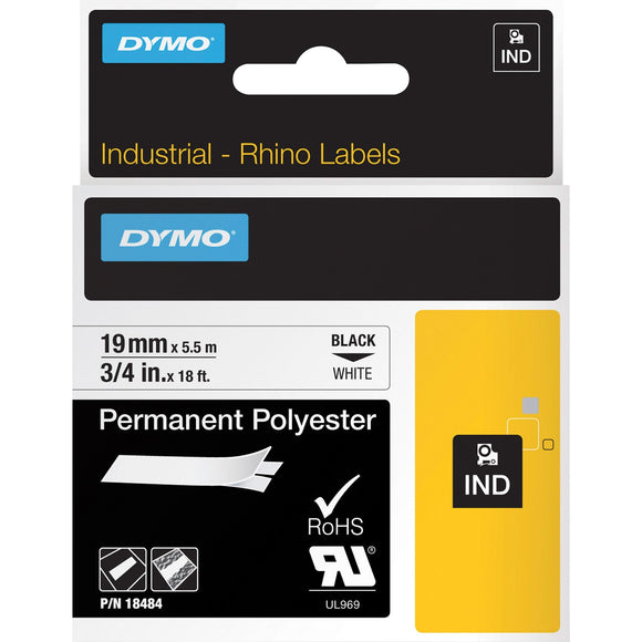 Dymo Rhino 3-4in X 18ft, White Permanent Poly Labels