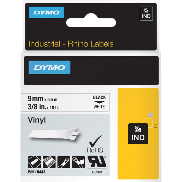 Dymo Rhino 3-8in X  18ft, White Vinyl Labels