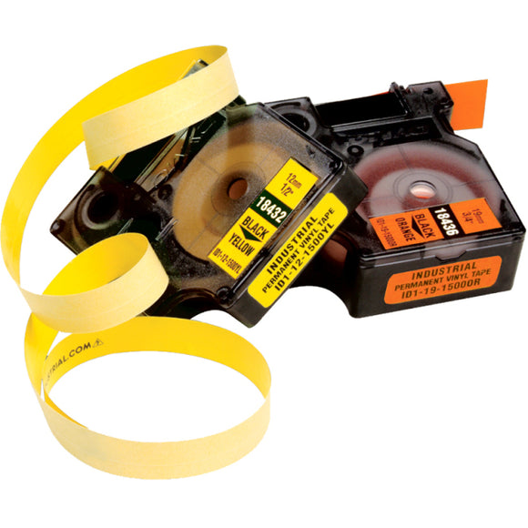 Dymo Rhino 1-2in X 18ft, Yellow Vinyl Labels