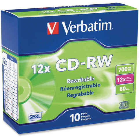 Verbatim Americas Llc Verbatim -  X Cd-rw 700 Mb ( 80min ) 4x - 12x - Slim Jewel Case - Storage Media