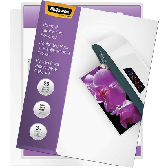 Fellowes Thermal Laminating Pouches - ImageLast'Ñ¢, Jam Free, Letter, 3 mil, 25 pack