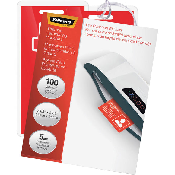Fellowes Glossy Pouches - ID Tag punched, 5 mil, 100 pack
