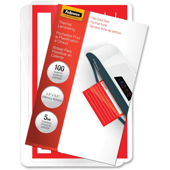 Fellowes Glossy Pouches - File Card, 5 mil, 100 pack