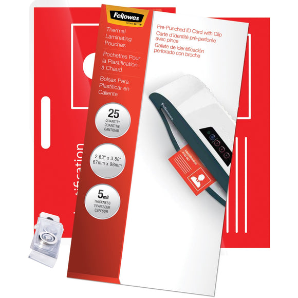 Fellowes Glossy Pouches - ID Tag punched with clip, 5 mil, 25 pk