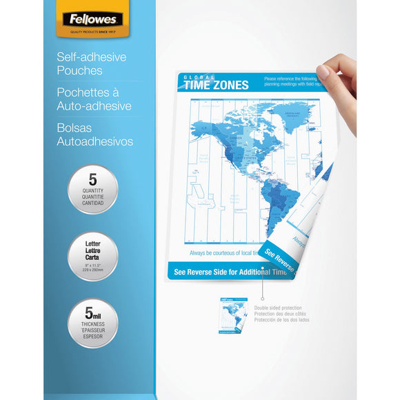 Fellowes Self-Adhesive Pouches - Letter, 5mil, 5 pack