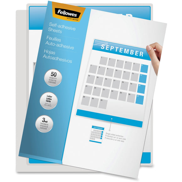 Fellowes Self Adhesive Laminating Sheets, Letter, 3mil, 50 pack