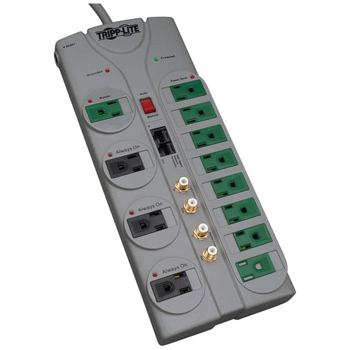 Tripp Lite Eco Surge Protector Green 120V RJ11 RJ45 Coax 12 Outlet 10' Cord