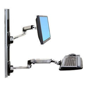 Ergotron Lx Wall Mount System With Medium Silver Cpu Holder.accommodates An Lcd,