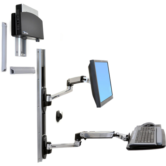 Ergotron Lx Wall Mount System With Small Black Cpu Holder.accommodates An Lcd,ke