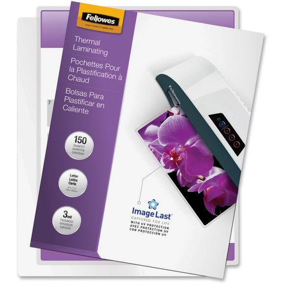 Fellowes Thermal Laminating Pouches - ImageLast'Ñ¢, Jam Free, Letter, 3mil, 150 pack