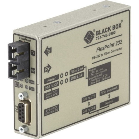 Black Box FlexPoint RS-232 to Fiber Converter, 850-nm Multimode, 2.5 km, SC