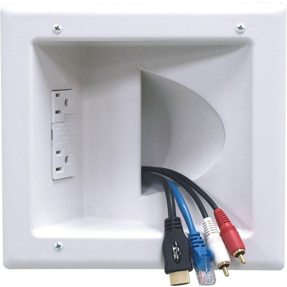 Peerless-AV Recessed Low Voltage Media Plate With Duplex Surge Suppressor