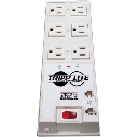 Tripp Lite Surge Protector Power Strip 6 Outlet 6' Cord 3040 Joules Tel-DSL Auto Shut Off