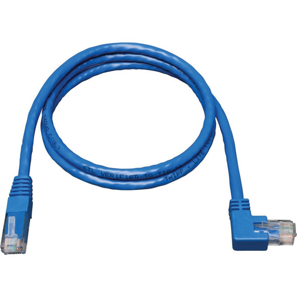 Tripp Lite 5ft Cat6 Gigabit Molded Patch Cable RJ45 Right Angle to Straight M-M Blue 5'