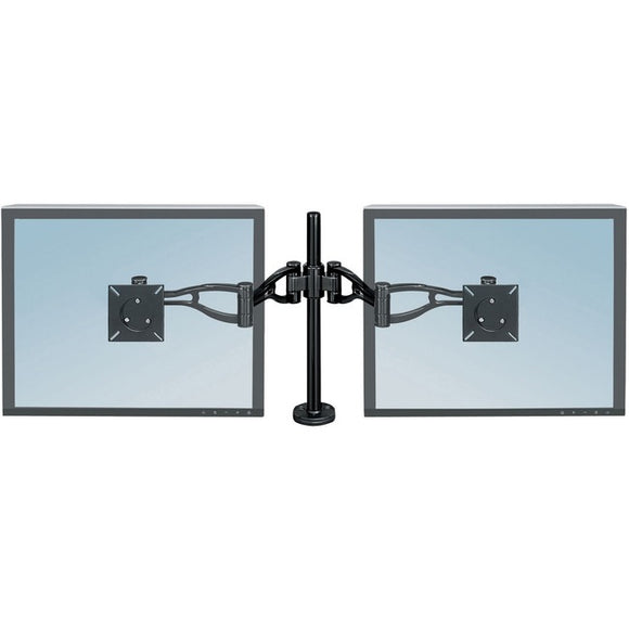 Fellowes, Inc. Professional Series Depth Adjustable Dual Monitor Arm Features Two Monitor Arms