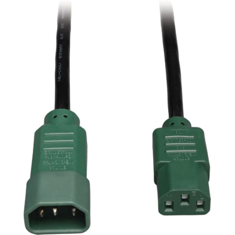 Tripp Lite 4ft Computer Power Cord Extension Cable C14 to C13 Green 10A 18AWG 4' -> May Require up to 5 Business Days to Ship