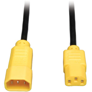 Tripp Lite 4ft Computer Power Cord Extension Cable C14 to C13 Yellow 10A 18AWG 4'