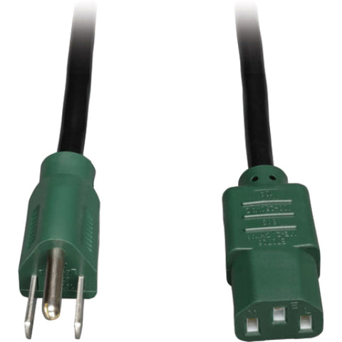 Tripp Lite 4ft Computer Power Cord Cable 5-15P to C13 Green 10A 18AWG 4'