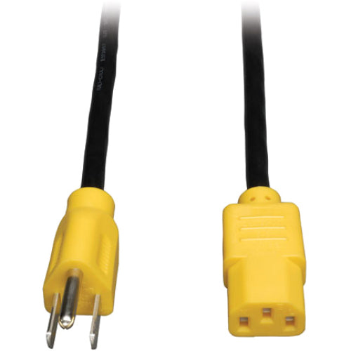 Tripp Lite 4ft Computer Power Cord Cable 5-15P to C13 Yellow 10A 18AWG 4'