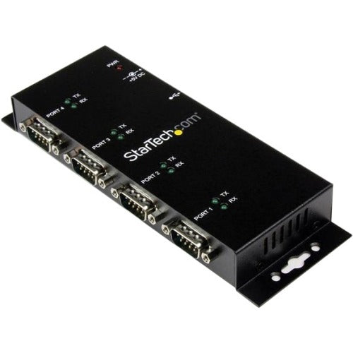 StarTech.com USB to Serial Adapter Hub - 4 Port - Industrial - Wall Mount - Din Rail - COM Port Retention - FTDI USB Serial