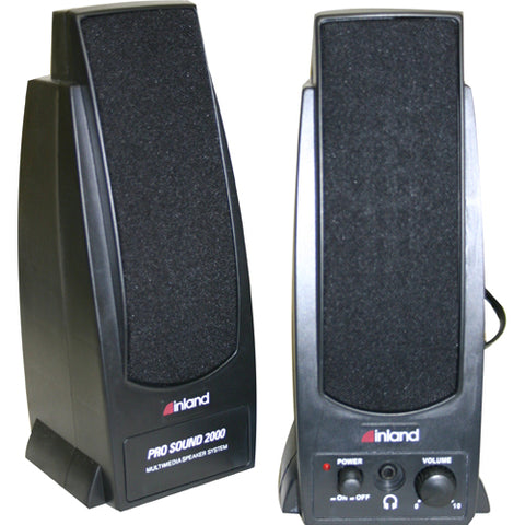 Inland Pro Sound 2000 2.0 Speaker System - 7.20 W RMS - Black - SystemsDirect.com