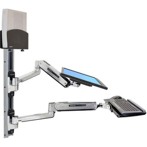 Ergotron Lx Sit-stand Wall Mount System With Small Black Cpu Holder.accommodates