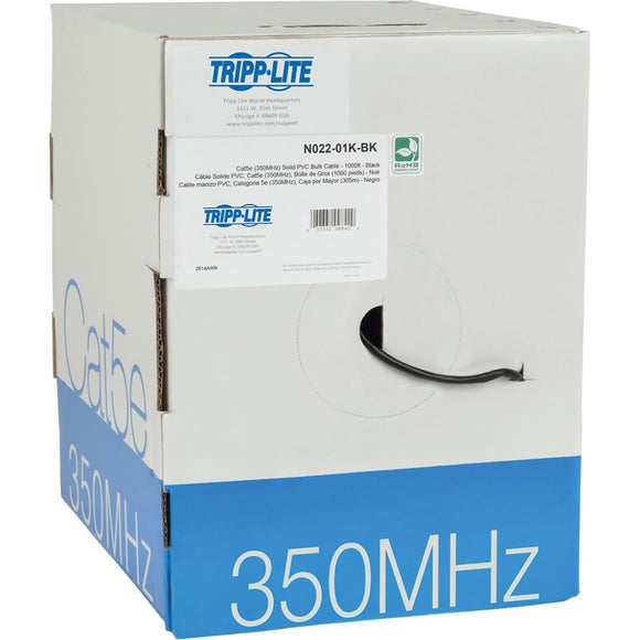 Tripp Lite 1000ft Cat5 - Cat5e Bulk Cable Solid CMR PVC 350MHz Black 1000' ->  -> May Require Up to 5 Business Days to Ship -> May Require up to 5 Business Days to Ship