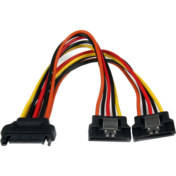StarTech.com 6in Latching SATA Power Y Splitter Cable Adapter - M-F
