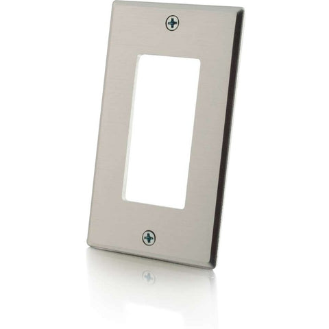 C2G Decorative Style Cutout Single Gang Wall Plate - Aluminum - SystemsDirect.com