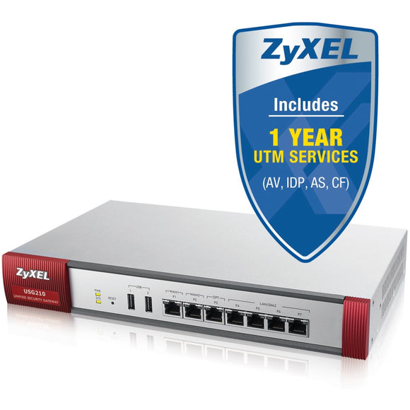 ZyXEL USG210 Next-Generation USG Firewall, With 1 Year UTM Services