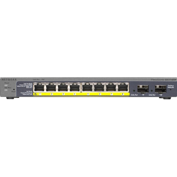 Netgear Prosafe 8-Port Gigabit PoE Smart Switch with 2 Gigabit Fiber SFP