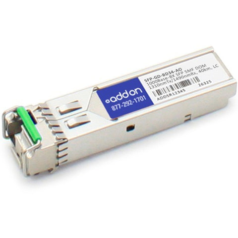 AddOn MRV SFP-GD-BD34 Compatible TAA Compliant 1000Base-BX SFP Transceiver (SMF, 1310nmTx-1490nmRx, 40km, LC, DOM)