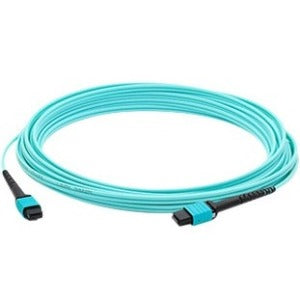 AddOn 10m MPO (Male) to MPO (Male) 12-strand Aqua OM3 Straight Fiber OFNR (Riser-Rated) Patch Cable