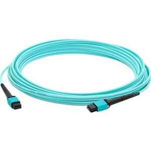 AddOn 10m MPO (Female) to MPO (Female) 12-strand Aqua OM4 Crossover Fiber OFNR (Riser-Rated) Patch Cable