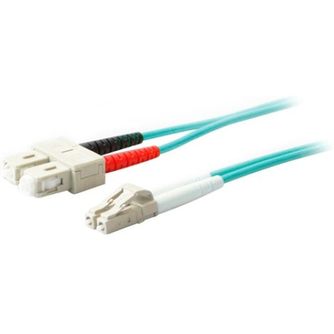 AddOn 20m LC (Male) to SC (Male) Aqua OM4 Duplex Fiber OFNR (Riser-Rated) Patch Cable - SystemsDirect.com
