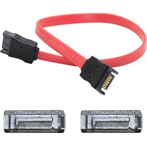 AddOn 61cm (2.0ft) SATA Male to Male Red Serial Cable