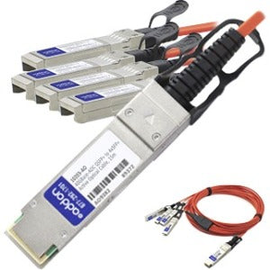 AddOn Cisco QSFP-4X10G-AOC15M Compatible TAA Compliant 40GBase-AOC QSFP+ to 4xSFP+ Direct Attach Cable (850nm, MMF, 15m)